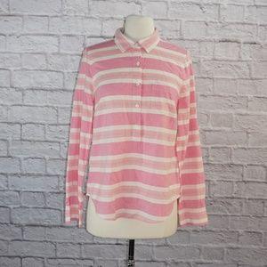 Pink White Multistripe Popover Blouse 4